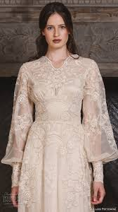 art nouveau wedding dress. claire pettibone fall 2017 bridal long bishop sleeves small v neck full embellishment lace embroidered vintage art nouveau wedding dress