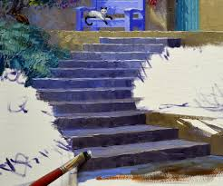 next the tops of the steps are made when painting steps the flat surface is lighter because the light from above illuminates the top directly