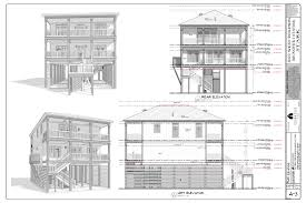 lower level floor plan all exterior elevation drawings