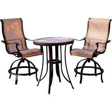 monaco 3 piece outdoor bar h8 dining set with round tile top table and