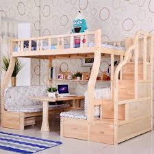 Childrens bunk bed picture bed ladder cabinet pine wood on shelves study  table