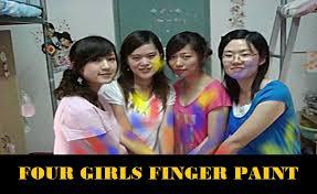 4 girls finger painting