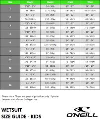 Oneill Kids Size Chart Oneill Wetsuit Size Chart Thewaveshack Com