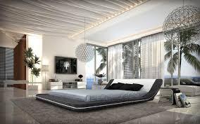 contemporary ecoleather platform bed w led lights