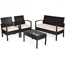 4 pieces patio furniture sets rattan