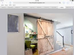 storage office space. Barn Door Small Office Space Under Stairs Gray Entry Storage