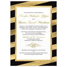 Black And White Invitation Paper Bold Diagonal Stripes Wedding Invitation Black Gold White Simulated Gold Foil Glitter Ornate Scroll