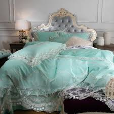 vintage shabby chic mint green and white applique victorian lace embroidered rococo pattern elegant feminine full queen size bedding sets