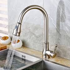 Brushed Nickel Kitchen Sink Faucet With Pullout Sprayer
