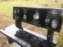 black laser etched bench seat with back cycadia cemetery tarpon springs fl