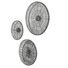 3 piece intricate circle metal wall art