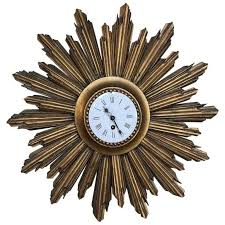 mid century carved wood french gilt wood sunburst wall clock for