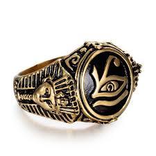 1pcs Men's 316L <b>Stainless Steel</b> Ring <b>Egyptian Pharaoh</b> and Eye of ...
