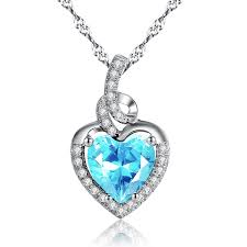 mabella sterling silver simulated aquamarine heart pendant necklace gifts for women 18 0
