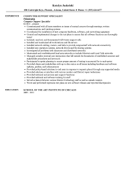 Computer Support Specialist Resume Sample Velvet Jobs Level 1 Help