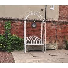 kingfisher canterbury vintage wrought iron garden cream metal arch pergola seat bench