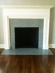 terrific replacing fireplace surround tile using blue green glass with subway pattern ideas also