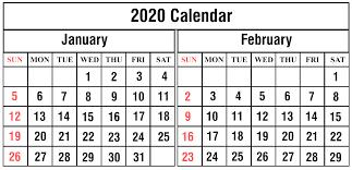 February 2020 Calendar Template Printable January February 2020 Calendar Printable Template Pdf Word