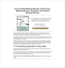 How To Write Meeting Minutes How To Write Sample Meeting Minutes 11 Free Online