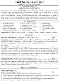 Entry Level Chemical Engineer Resume Mechanical Engineering Resume