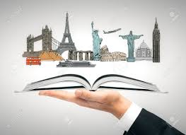 hand holding open book with travel sketch vacation concept 3d rendering stock photo