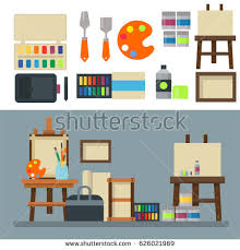 creative furniture icons set flat design. painting art tools palette icon set flat vector illustration details stationery creative paint equipment furniture icons design o