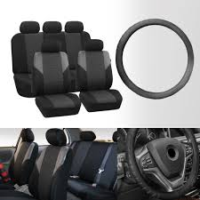 fh group gray universal airbag ready split bench seat covers with steering wheel cover 0