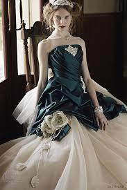 strapless wedding dress accented emerald green by jill stuart