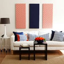 patterned navy blue and red fabric panel wall