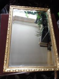 vintage bevel edge reflectwell mirror with ornate gilt wooden frame 26 5 x 18