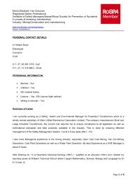 Kemcoal Coal Mining Speciality Basic Bike Mechanic Sample Resume