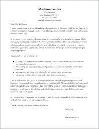 Medical Reception Cover Letter Free Receptionist Cover Letter Sample