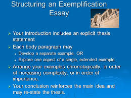 using exemplification in your writing chapter for example structuring an exemplification essay iuml131152 your introduction includes an explicit thesis statement iuml131152 each body paragraph