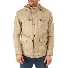 mens faux fur lined anorak jacket with detachable hood