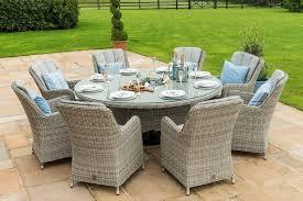oxford 8 seat round garden table set inset ice bucket umbrella grey synthetic rattan