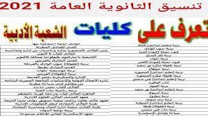 قائمة الكليات والمعاهد والجامعات ادبي تنسيق الجامعات 2021شعبة الادبي مرحلة  اولى تنسيق الكليات - YouTube