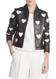 maje heart inset leather jacket