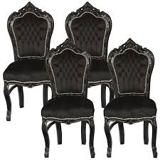 amazing set of 4 dining room chairs baroque gothic black velvet solid wood frame 001