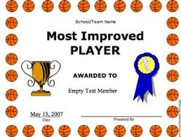 Basketball Most Improved Player Certificate Creator