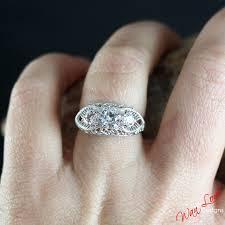 fb forever brilliant moissanite 3 stone antique filigree engagement ring 14k 18k white yellow rose gold platinum custom wedding anniversary