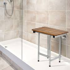 22 x 16 folding shower bench with legs slatted teak