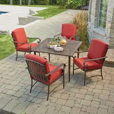 hampton bay oak cliff 5 piece metal outdoor dining set with chili cushions