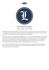 Gail Sandra Eldredge - Obituary