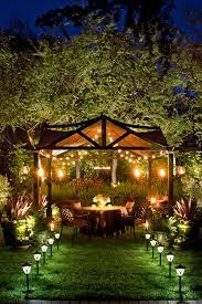 elegant well lit backyard dinner party pergola
