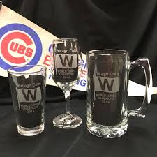 chicago cubs world series chions etched glware