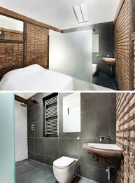 modern bedroom with bathroom. In This Modern Bedroom, The Sleeping Area Is Separated From Bathroom By An Opaque Bedroom With A