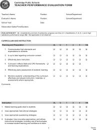Free Teacher Evaluation Form Pdf 33kb 4 Page S