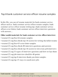 Example Resume For Customer Service Top 8 Bank Customer Service Officer Resume Samples