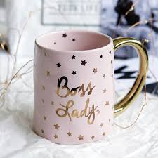 the office star mug. Novelty Star Romance Pink Golden Handle Word Ceramic Cup Personality Milk Juice Mug Drinkware Office Home The
