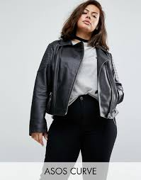 hot women asos curve ultimate leather biker jacket with quilting detail 6090 black jackets